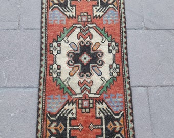 "Vintage Turkish Small Oushak Rug Vintage Anatolian Distressed Low Pile Wool Mat Rug Doormat Rug Bathroom Rug 1'4"" x 3'2"" Feet Free Shipping!"