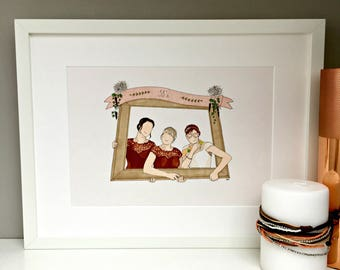 Personalised bride and bridesmaid illustration, wedding gift, thank you gift