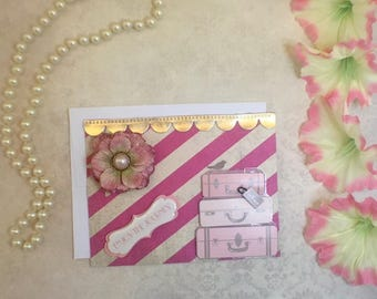 Pink and Gold Paris Inspired Note Card by Cat and Company Designs