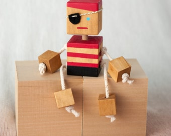 Wooden Pirate Robot - Block people - Nursery decor - Block Pirate- Cute Pirate- Baby shower gift - Wooden Pirate Toy