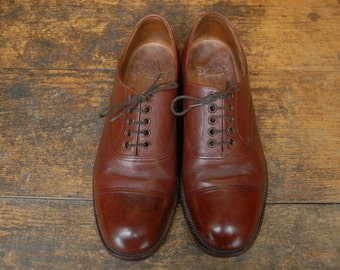 Vintage 1988 Brown Scotchgrain Leather British Army Officers Derby Oxford Shoes by Sanders UK 9 L