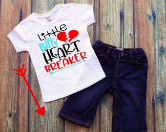 Itty Bitty Heart Breaker Tee, Boys V-day Tee, Boys Valentine Tee