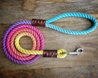 Hawaiian Rainbow Rope Leash (made to order)