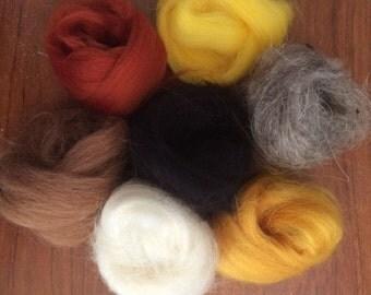 7 ROLLS OWL Needle felting  wool yellow grey white black new
