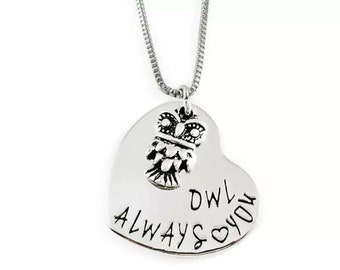 New Hand Stamped Owl Always Love You Necklace