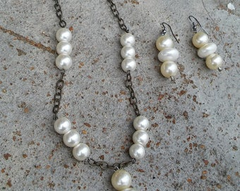 Pearls and Chain Necklace and Earrings
