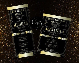 The great gatsby invitation - 1920s invitation -  Wedding - birthday - bridal shower - Digital download - digital file - printable