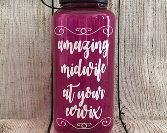 Pink Water Bottle // Amazing Midwife At Your Cervix // Midwife Gift // Midwife Water Bottle // Natural Birth Mom Gift // Pregnancy Gift
