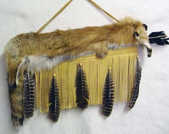 Native American Cherokee Made Flat Full Red Fox Quiver with Arrows