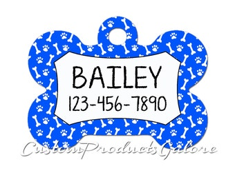Personalized Bone Shaped Pet Tag with bones and paws background, Dog Collar Tag, Pet Name Tag