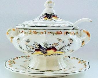 Large Vintage 4-Piece Porcelain Soup Tureen: Plate, Bowl, Spoon and Lid