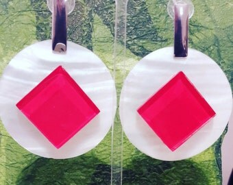 Mother of pearl earrings and glass available various colors