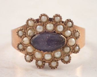 Antique 10K Rose Gold Mourning Ring