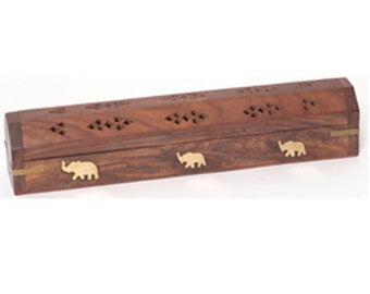 Incense Burner - Wooden Box with Storage - Elephant