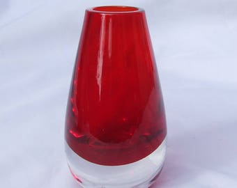 Vintage Aseda Swedish Cased Ruby Red Art Glass Tear Drop Vase - Circa 1970's Scandinavian Retro Modern Design Glass