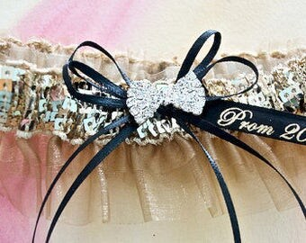 Black and champagne prom garter,  Prom garters