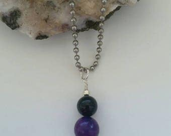 Sugilite and Obsidian Necklace, Crystal Healing Pendant, Sterling Silver Jewelry, Dangle, Charm, Protection, Unconditional Love,