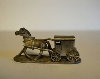 Spoontiques Horse and Buggy 643 Pewter Figurine 1986