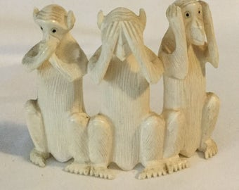 Vintage Carved Bone Monkey Sculpture Speak No Evil See No Evil Hear No Evil