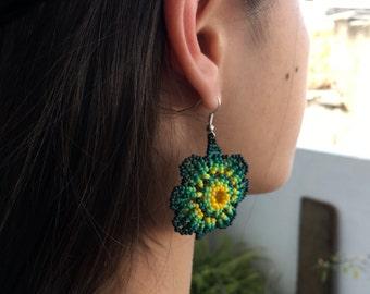 Green Flower Earrings.