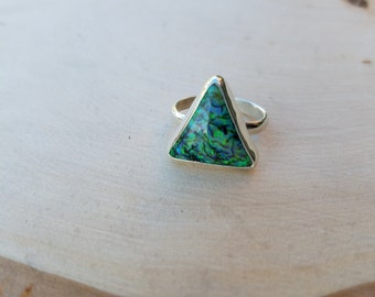 Sterling Silver Monarch Opal Ring Size 7, Triangle shape  Monarch Opal Ring, Sterling Silver Ring, Ready to Ship, Opal Ring