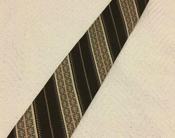 Vintage 1970s Currie Brown Polyester Clip-On Necktie