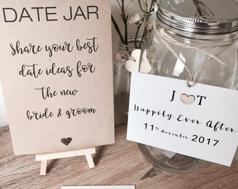 Date Jar for Wedding or Engagement with signs & easel