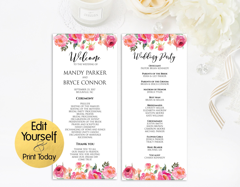 editable wedding program wedding program template wedding. Black Bedroom Furniture Sets. Home Design Ideas