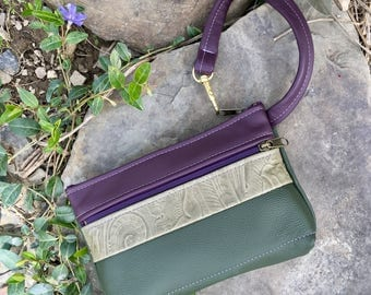 Leather wristlet clutch wallet iPhone case mini purse Eggplant Olive Italian leather bag pockets everyday functional Pat Halpen Leather bag