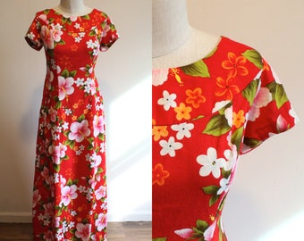 Red Hibiscus Maxi Dress