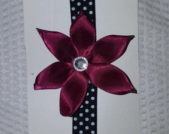Burgundy flower on black and white headband