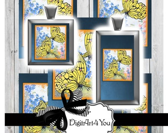 High Resolution Digital Download Collage of Colorful, Beautiful Butterfly. Vintage Magazine Clip Art of Butterflies. Inchies and Dominoes.