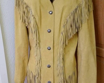 FREE SHIPPING * Annie Oakley Leather Fringed Coat / Jacket Buckskin Women's size medium