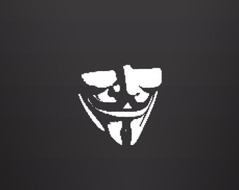 Guy Fawkes Mask - Vinyl Decal, Guy Fawkes, Wall Decal, Laptop Sticker, Wall Art