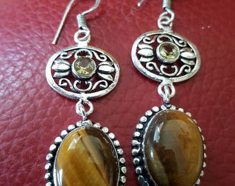 Tiger Eye and Lemon Quartz Earrings!
