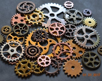 Lot of 12 Steampunk Metal Gears. Steampunk Findings for Jewelry or Costume, Cogs, Sprockets, Clockwork. Steam Punk Cosplay Clock Gear Pieces