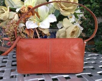 Vintage Kenneth Cole Orange Leather Baguette Style shoulder bag, Small Leather handBag, Designer Leather Handbag, Fashion Purse,Trendy Bag