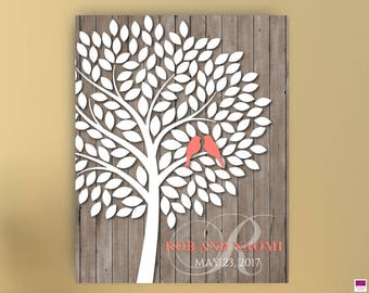 Wedding Guest book Alternative Tree with birds, Canvas or Poster, Wedding Tree to sign, Tree Guestbook,Signature Tree Canvas,Tree guest book