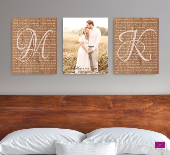 Wedding Vow Gifts: Set Of 3 Wedding Vows Canvas Anniversary Gift Canvas With