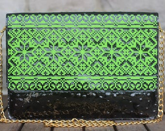 Exclusive! Black clutch with electric green embroidery