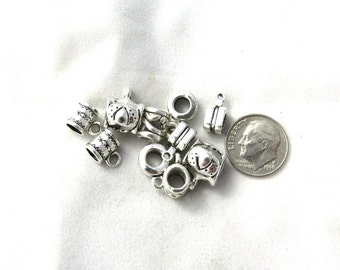 20 Mixed Antique Silver Bail Beads Charms (B374c)