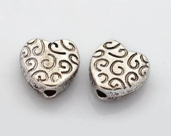 25 Antique Silver Tone Heart Spacer Beads (B165c)