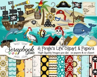 A PIRATE'S LIFE Clipart & Papers Kit, 27 png Clip arts, 20 jpeg Papers Instant Download western ocean sea whale boats nautical gold treasure