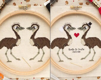 Emu Pair Cross Stitch Pattern PDF | Plain and Wedding | Cute Little Bird | Easy | Modern | Beginners Counted Cross Stitch | Instant Download