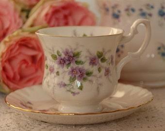 Royal Albert Violets Un-named Tea Cup and Saucer, Vintage demitasse Teacup and Saucer