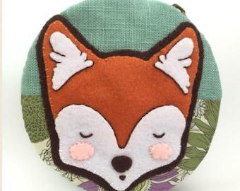 Sale***Fox Coin Purse/ Felt Applique Fox/ Appliqued Round Coin Purse/ Handmade Coin Purse