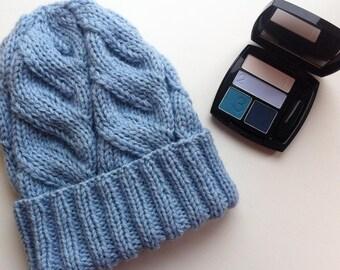 Sky blue knitted hat  Woolen hat  Handmade hat  Hat for women  Hat with braids