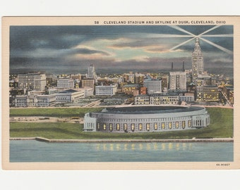 Cleveland Ohio Postcard Stadium Building and Skyline at Dusk 1940s Linen Vintage Old Unused OH History Terminal Tower Skyscraper Top Light
