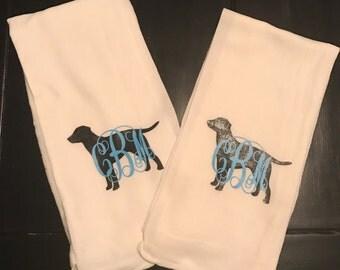 Black Lab Monogram Dish Towel