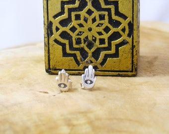 Hamsa (with evil eye) stud earrings
